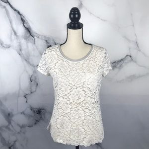 Hollister short sleeve lace front t shirt